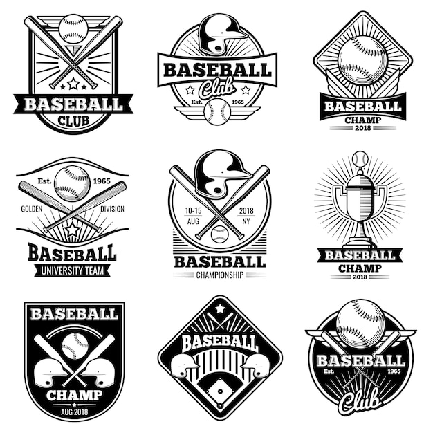 Vintage baseball vector labels and emblems Premium Vector