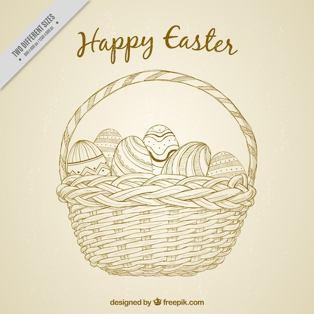 Vintage basket background with hand drawn easter eggs Free Vector