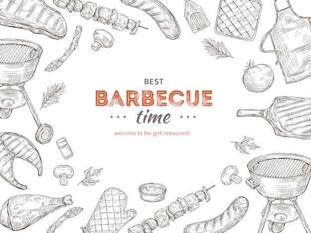 Vintage bbq poster. barbeque doodle grill chicken barbecue grilled vegetables fried steak meat picnic summer party  invitation Premium Vector