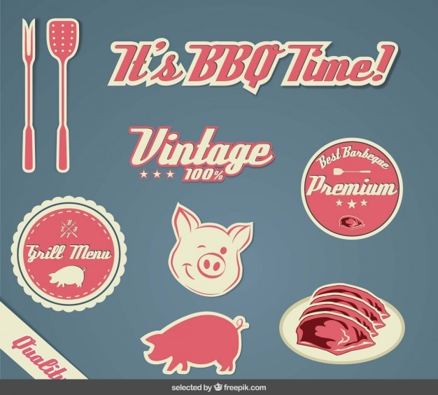Vintage bbq stickers collection Free Vector