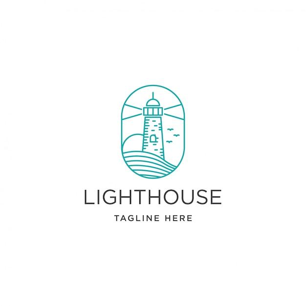 Vintage beacon lighthouse on coastal beach logo template Premium Vector