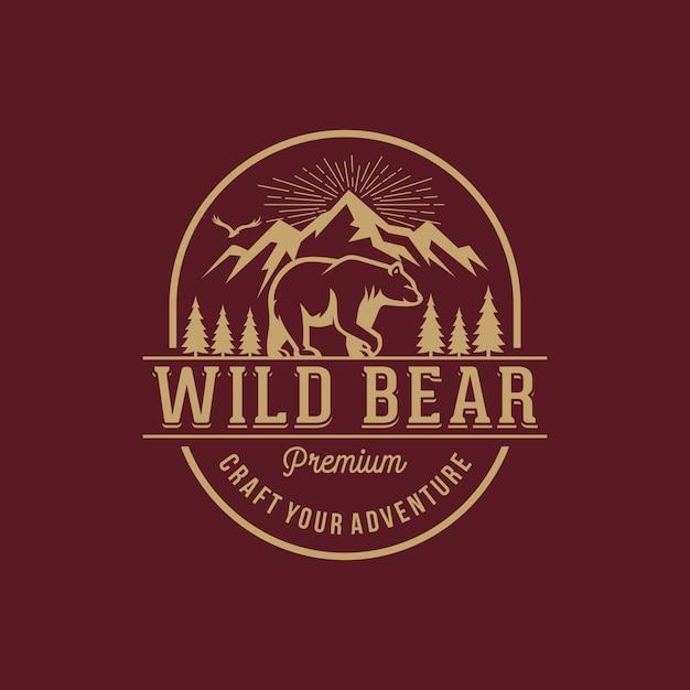 Vintage bear logo template Premium Vector