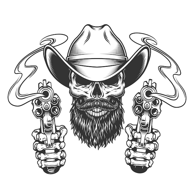 Vintage bearded and mustached cowboy skull Free Vector