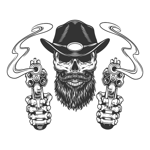 Vintage bearded and mustached sheriff skull Free Vector