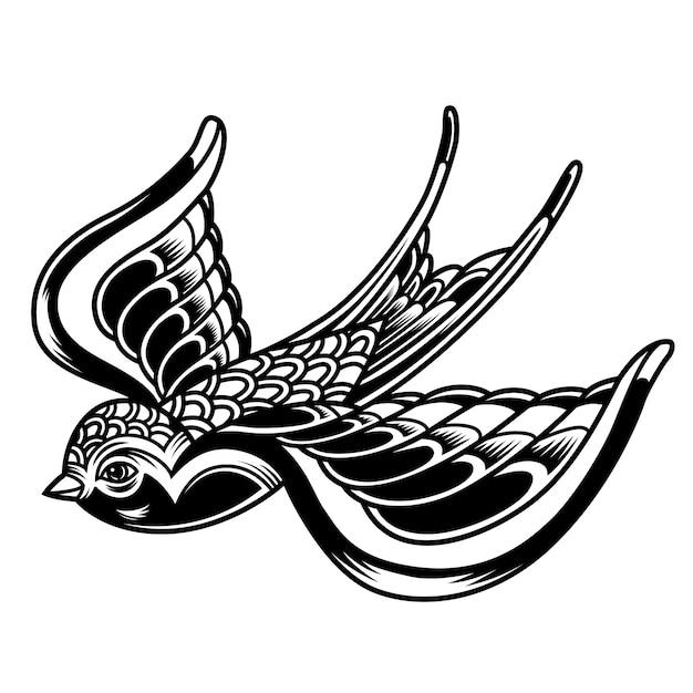 ヴィンテージの美しい空飛ぶツバメ 無料ベクター