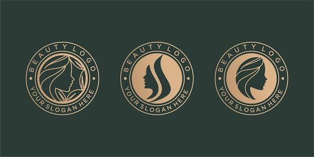 ヴィンテージの美しさのロゴのデザインセット Premiumベクター