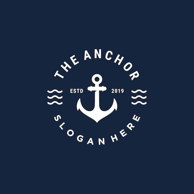 Vintage bedge anchor vector logo design template Premium Vector