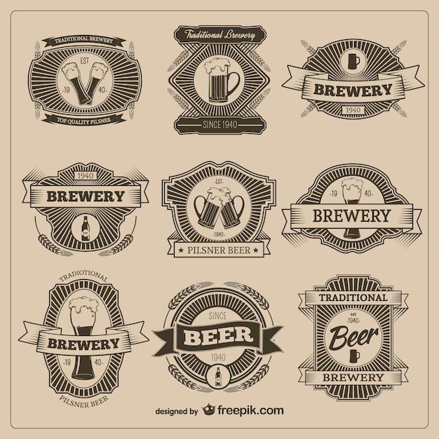 Vintage значки пива Бесплатные векторы