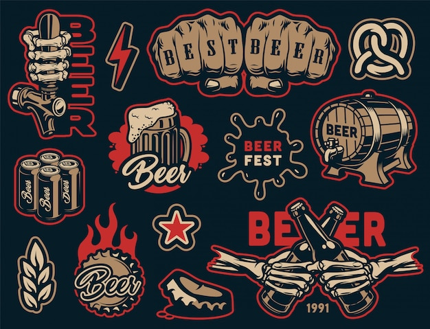 Vintage beer elements colorful collection Free Vector