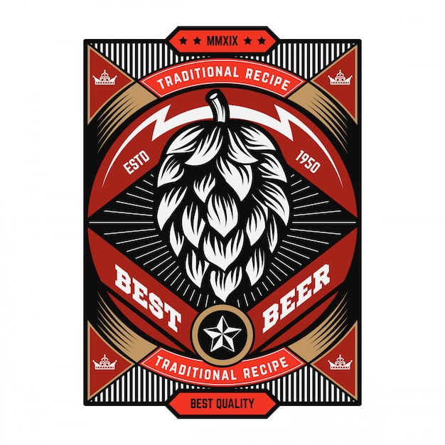 Vintage beer emblem Premium Vector