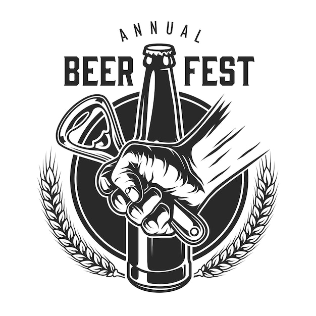 Logotipo di festival della birra vintage Vettore gratuito