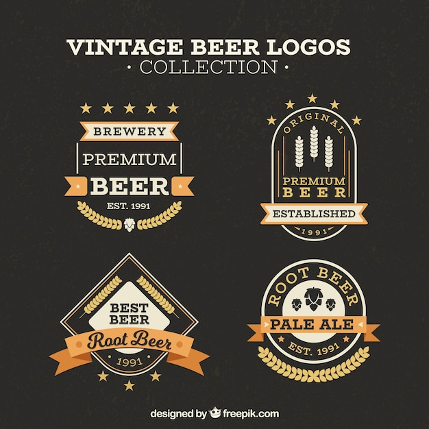 Vintage beer logo collection Free Vector