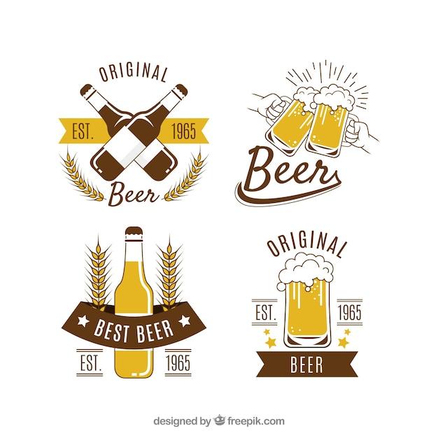 Коллекция логотипа vintage beer Premium векторы