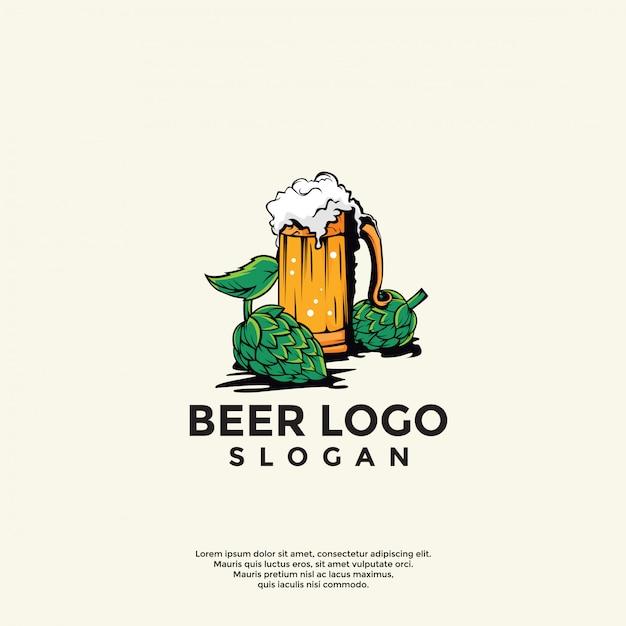 Vintage beer logo template Premium Vector