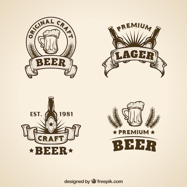 Коллекция логотипа vintage beer Бесплатные векторы