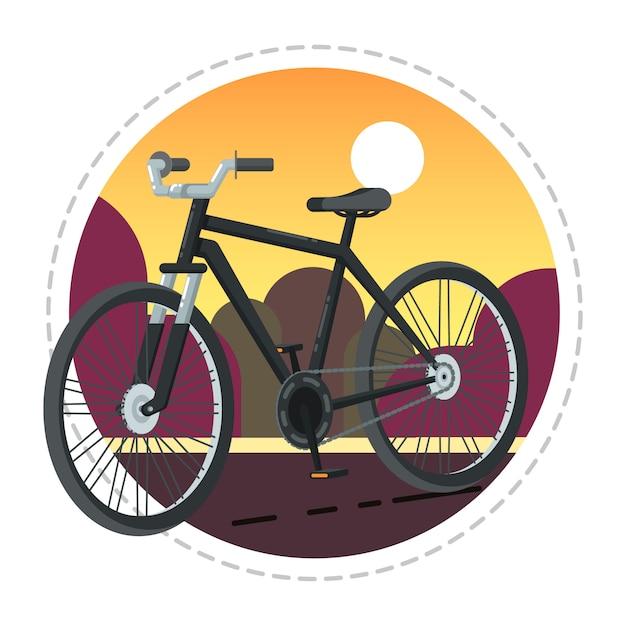 フラットなデザインのビンテージ自転車アイコン Premiumベクター