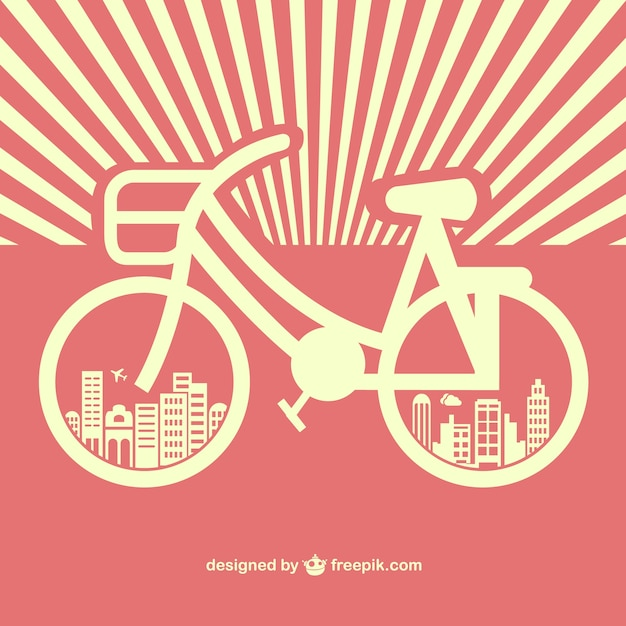 Vintage bicycle silhouette with buildings in\ the wheels