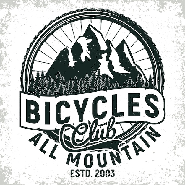Vintage bicycles club logo design, all-mountain bikers grange print stamp, creative typography emblem Premium Vector