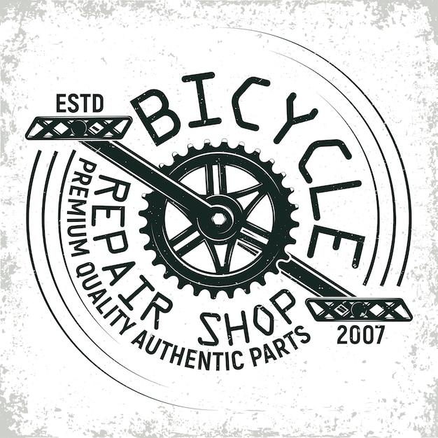 Дизайн логотипа мастерской по ремонту старинных велосипедов, печать grange, креативная типографская эмблема Premium векторы