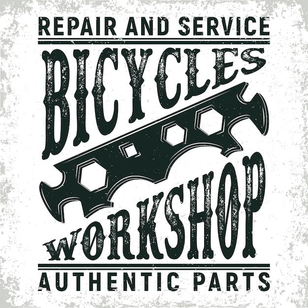 Логотип мастерской по ремонту старинных велосипедов, печать грандж, эмблема креативной типографии, Premium векторы