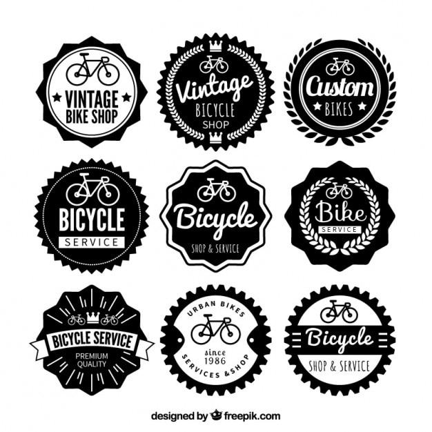 Vintage bike badges collection Free Vector