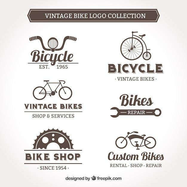 Vintage bike logo collection Premium Vector
