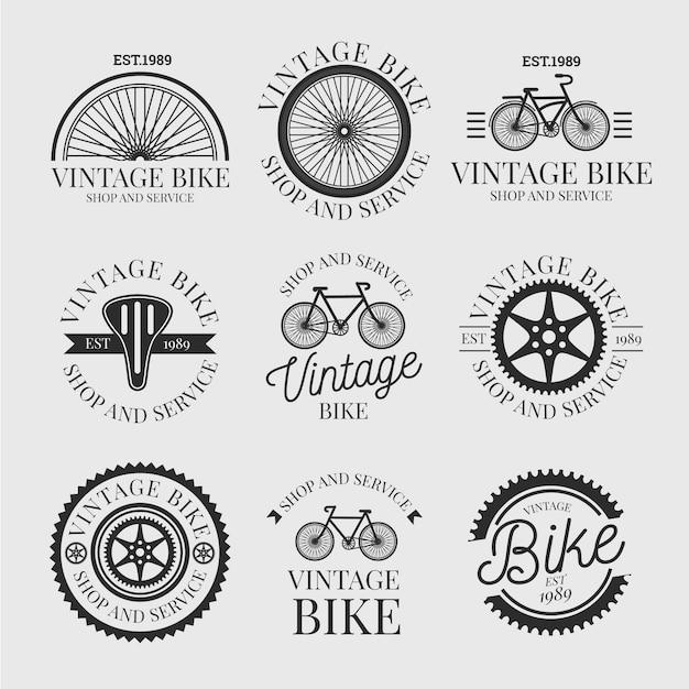 빈티지 자전거 로고 컬렉션 무료 벡터