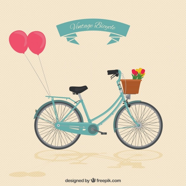 Vintage bike with balloons Vector | Free Download