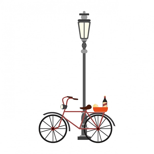 Vintage bike with wine and cheese on streetlight Premium Vector