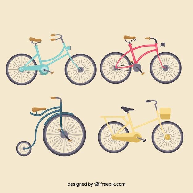 Vintage bikes with flat design