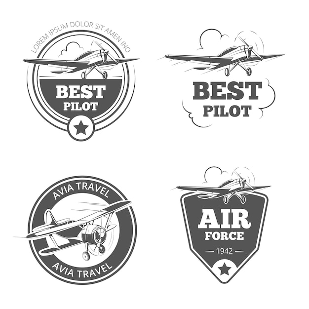 ヴィンテージ複葉機と単葉機のエンブレムセット。飛行機と航空機のロゴ。航空ロゴ、フライト旅行、ベクトルイラスト Premiumベクター
