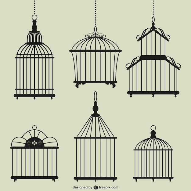 Vintage birdcages Free Vector