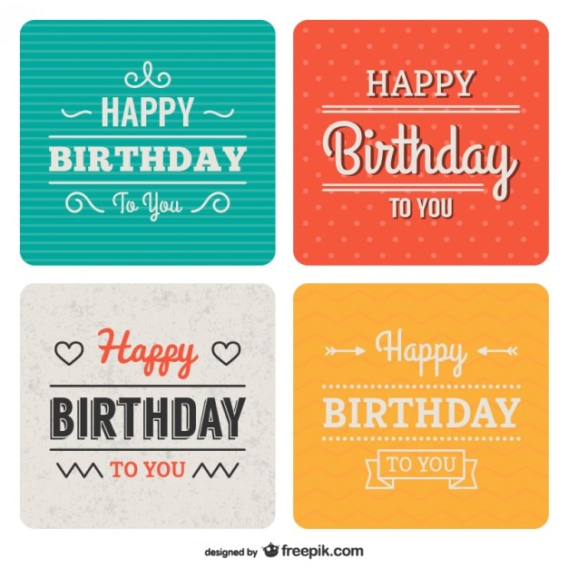 Vintage birthday backgrounds Free Vector