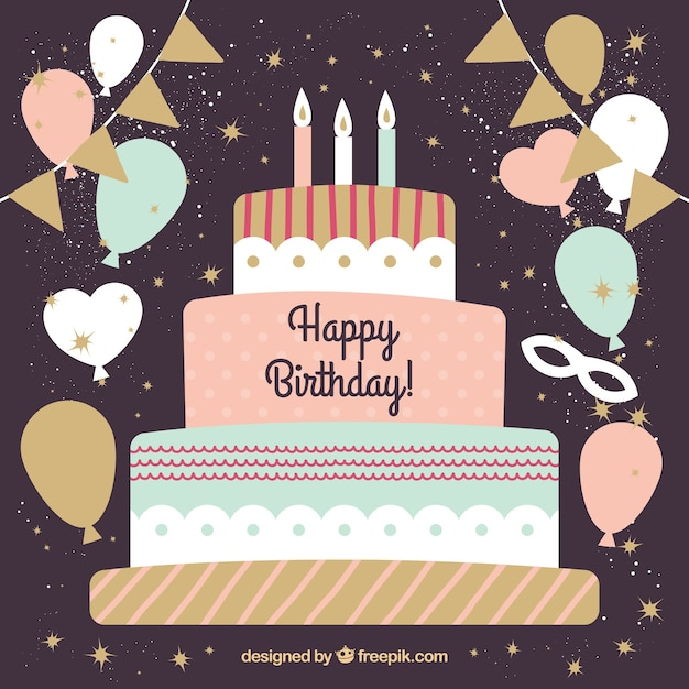 Vintage Birthday Cake Background With Balloons Vector Free Download