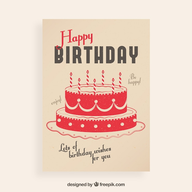 Vintage Birthday Card With A Cake Vector Free Download