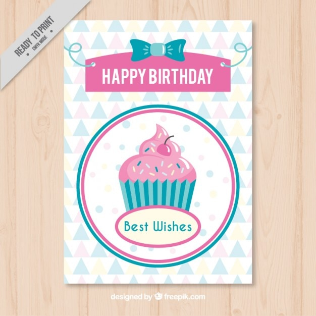 Vintage birthday card with a delicious\ cupcake