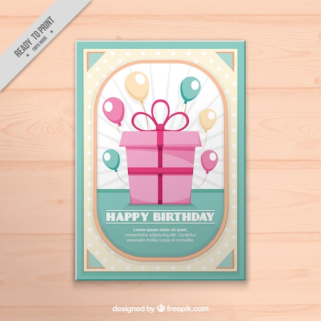 Vintage birthday gift card vector free download vintage birthday gift card free vector negle Image collections