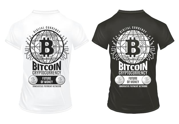 Винтаж биткойн криптовалюта печатает шаблон с надписями монет виртуальной платежной сети на черно-белых рубашках изолированы Бесплатные векторы