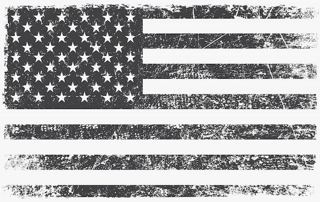 ヴィンテージの黒と白のアメリカ国旗 Premiumベクター