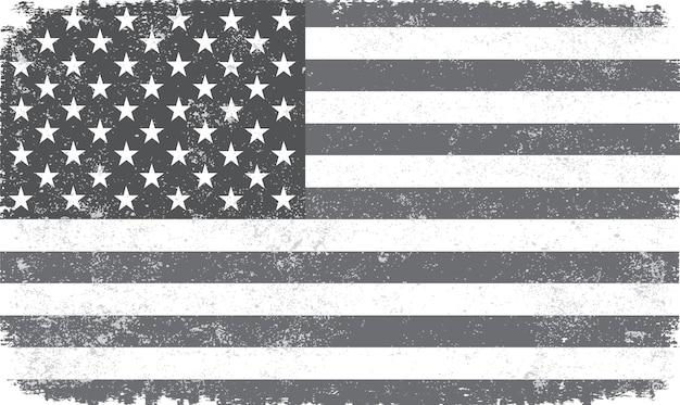 ヴィンテージの黒と白のアメリカの国旗 Premiumベクター