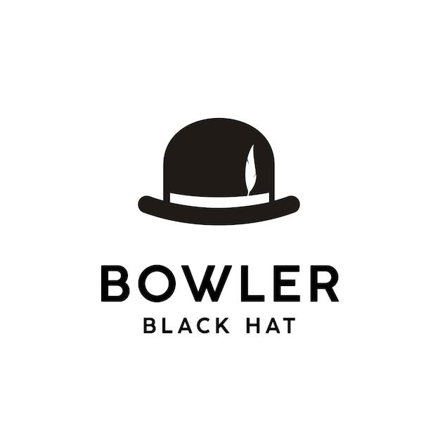 Урожай черный котелок с пером логотипа Premium векторы