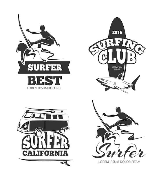 Vintage black surfグラフィック Premiumベクター