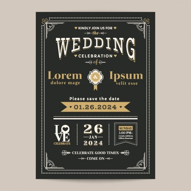 Vintage black wedding invitation vector free download vintage black wedding invitation free vector stopboris Images