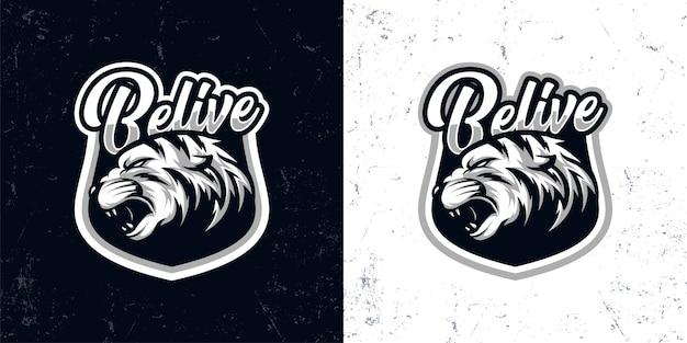 Vintage black white angry tiger head logo illustration Premium Vector