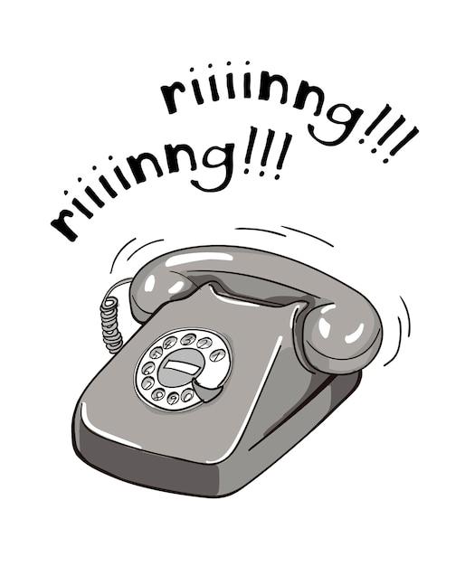 Vintage black and white telephone hand drawn illustration. Premium Vector