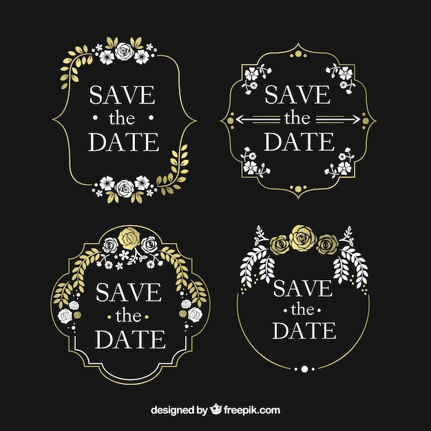 Vintage blackboard wedding labels with flowers