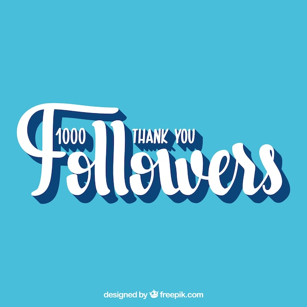 Vintage blue background of 1k followers