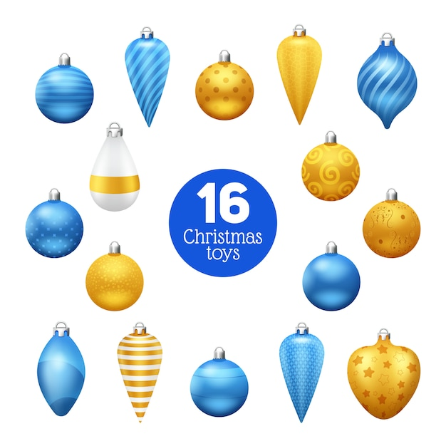 Vintage blue and golden christmas tree balls with ornaments Free Vector