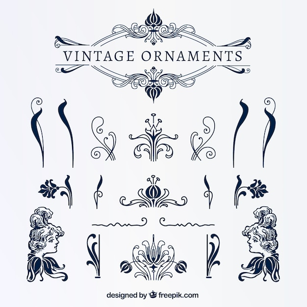 Vintage blue ornaments Free Vector