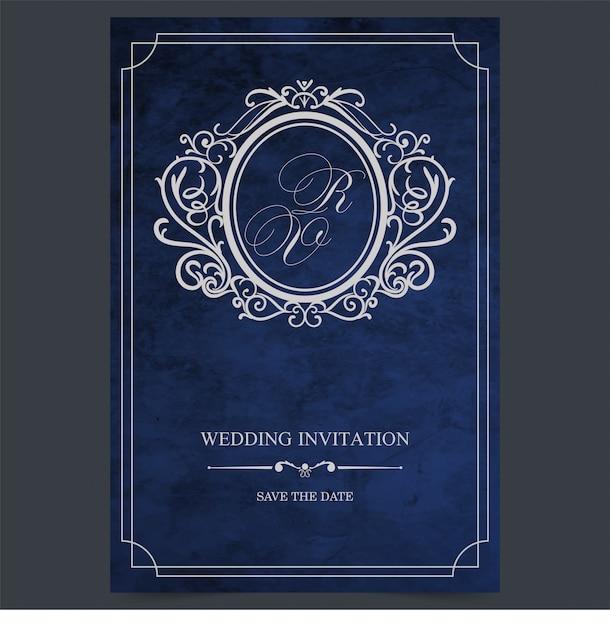 Vintage blue wedding card, vintage wedding invitation border and frame template Premium Vector